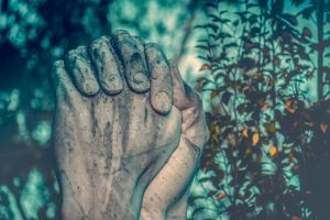 Farmer's hands in prayer